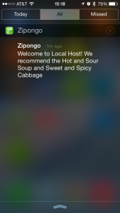 An example notification on iOS, with a recommended entree and side.